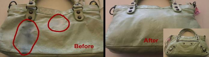 Clean ink and restore color on handbags