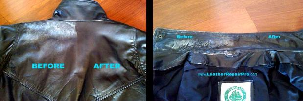 Dye, restored fading, grimy leather jacket