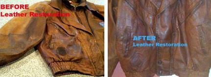 clean condition dye stained, greasy leather jackets