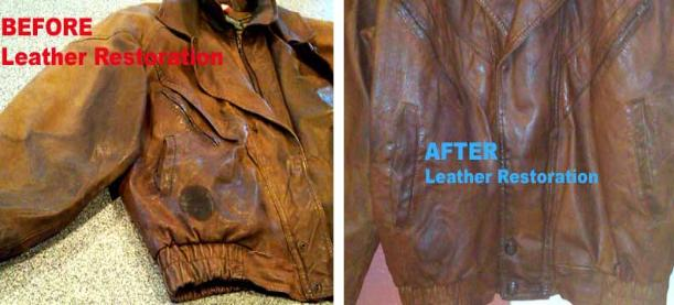 Clean faded, grimmy leather motorcycle jacket. Restore color