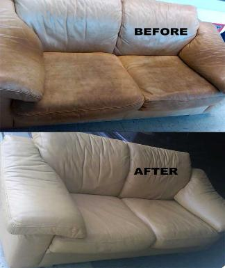 Restore Leather Loveseat with Stains, Body Oils