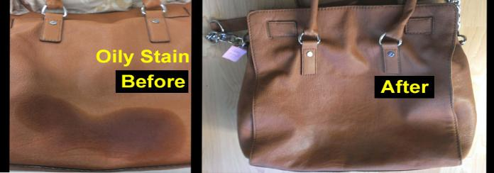 remove oily stains on leather bag